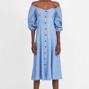NEW Zara The Romance Dress Chambray Midi Button Up